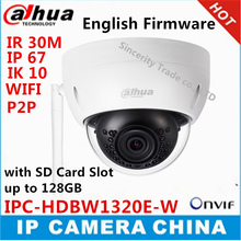 Original Dahua 3MP IPC-HDBW1320E-W dome IP Camera wifi Network IR security cctv Dome IP CCTV Camera Support wifi P2P Camera