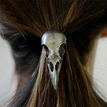 New Fashion Halloween Retro Punk Gothic Metal Skull Hair Tie Fashion Birds Crow Skull Elastic Hair Bands Accessories