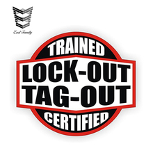 EARLFAMILY 12cm x 10.7cm Lockout Tagout Trained Certified Hard Hat Decal  Car Stickers 308c8d2d590d