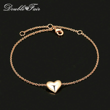 Love Heart OL Style Smooth Metal Chain Bracelets & Bangles Rose Gold Color Fashion Jewelry For Women Wholesale DFH199