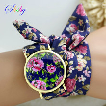 shsby new design Ladies flower cloth wrist watch gold fashion women dress watches high quality fabric watch sweet girls watch(China)