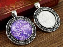 New Fashion  3pcs 25mm Inner Size Antique Silver Classical  Style Cabochon Base Setting Charms Pendant (A3-50)