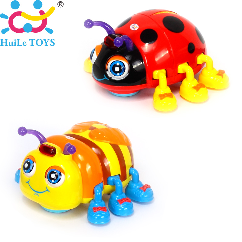 HUILE TOYS 82721 Baby Toys Infant Crawl Beetle Electric Toy Bee Ladybug with Music & Light Learning Toys for Children Xmas Gifts(China)