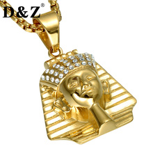D&Z Ice Out Ancient Egypt Men Necklace Gold Color Stainless Steel Paving CZ Egypt King Necklaces for Men Jewelry(China)