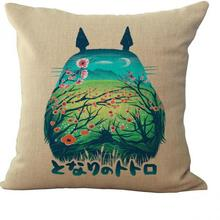 Factory Supply Hot Sale Cartoon Style Adorable Big Belly Totoro Linen Pillow Home Furnishing Decoration Cushion
