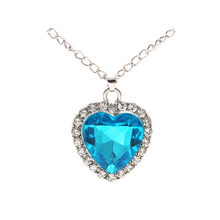 FWORLD Romantic love movie Titanic Rose heart of the ocean pendants for women blue crystal choker necklace for love gifts NP-073