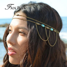 FANHUA Bohemian Style Indian Jewelry Antique Gold-Color Chain with Blue Stone Boho Headbands Hair Jewelry Hairwear For Women