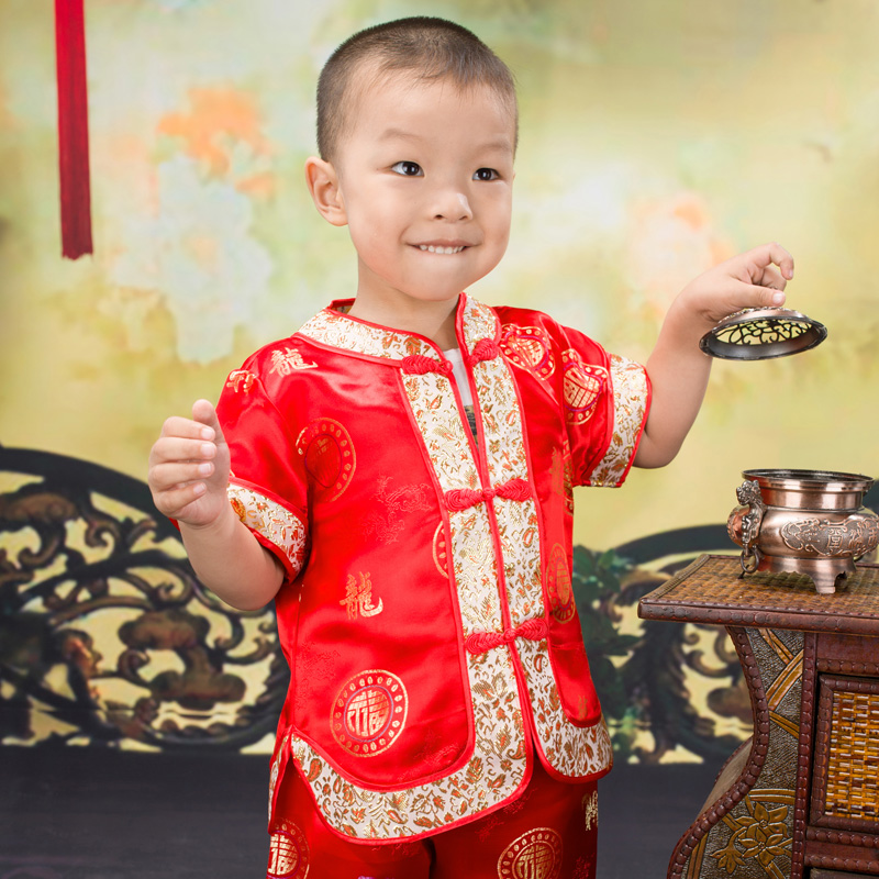 Summer Gorgeous Embroidered Children Ancient Chinese Costume Baby Boy Girl New Year/Birthday  Joyous Red Performing Clothes Set<br><br>Aliexpress