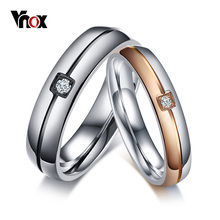 Vnox Trendy Wedding Rings for Women Men AAA CZ Stones Stainless Steel Engagement Anniversary Band Valentine's Day Gift(China)