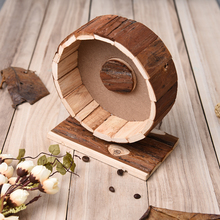 Hamster Running Wheel Natural Living Cute Wooden Chew Toys Exercise Wheel for Hamsters Chinchillas Guinea Pigs and Other Pets
