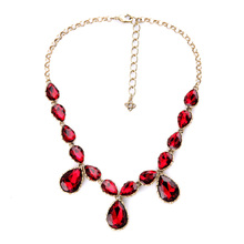 Charm Fascinated Red Wine Crystal Necklace For Women Sexy Nightclubs Maxi Statement Necklaces Long Gold Color Jewelry