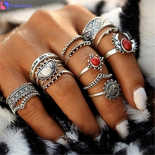 SUSENSTONE 14PCs/Set Vintage Tibet Lucky Red Antique Artificial Stone Moon Knuckle Midi Ring Set for Women Punk Boho Rings Gifts(China)