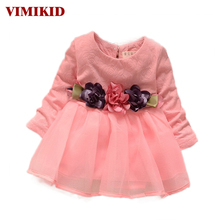VIMIKID 2017 winter newborn fancy infant baby dresses girl frocks designs party wedding with long sleeves  birthday dresses
