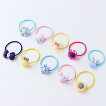 40PCS/Lot New Good Quality Girl Cute Small Plastic Flower Fruit Bow Rubber Band Colorful Elastic Hair Band Gift Hair Accessories