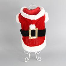 Christmas Red Santa Claus Puppy Dog Costume Pet Cat Coat Winter Clothes Christmas Apparel Cotton Clothing with Hat Hoody Dress(China)