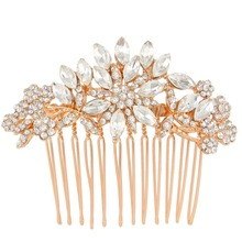 BELLA Small Rose Gold Tone Bridal Hair Comb Austrian Crystal Head Piece For Wedding Hair Piece Bridesmaid Comb Piece(China)