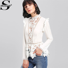 Sheinside 2017 Stand Collar Long Sleeve Tiered Layer Slim Fit Blouse White Frilled Shoulder Lace Insert Peplum Elegant Blouse(China)