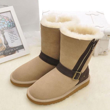 UVWP High Quality Fashion Snow Boots for Women 100% Genuine Sheepskin Leather Natural Fur Women Boots Warm Wool Winter Boots