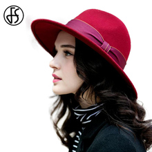 FS 2017 Winter Ladies Red Blue Black 100% Wool Felt Fedora For Women Vintage Wide Brim Panama Hat With Bowknot Ribbon Jazz Hats