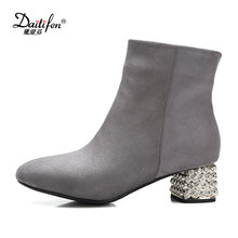 2017 Daitifen artificial suede ankle boots fashion square toe thick heel women boots high heel Wedding party Glitter lady boots