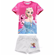 Kids Clothing Sets 2017 Summer Baby Girls Clothes T-shirt+Pants Elsa Costume For Kids Outfit Girls Sport Suit Children Clothing