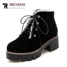 RIBETRINI Motorcycle Boots Women With Warm Fur Winter Shoes Square Heels Lace Up Thick Platform Boots Woman