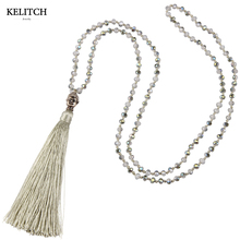 KELITCH Jewelry Silver Tawny Tassel Buddha Pendant Bohemia Friendship Necklace Crystal Beads Antique Handmade Charm Necklace(China)