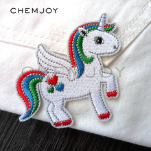 1Pcs Cute White Unicorn Embroidered Patch Iron On Sewing Applique Badge Clothes Patch Stickers Apparel Craft Sewing Accessories