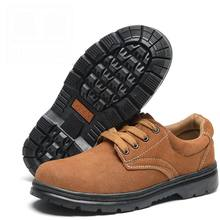 Plus Size 36-46 Nubuck Leather Women Work Shoes Lace-up Round Steel Toe Cap Women Safety Shoes