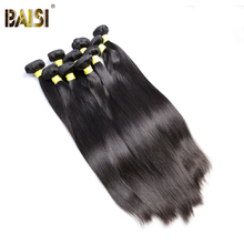 BAISI Hair,100% Unprocessed Human Hair Peruvian Virgin Hair Straight Extension,Natural Color,8-30inch, Wholesale 10Bundles/Lot(China)