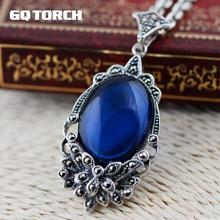 GQTORCH 925 Sterling Silver Red Ruby and Blue sapphire Vintage Pendants For Women Natural Gemstone Corundum Marcasite Carving(China)