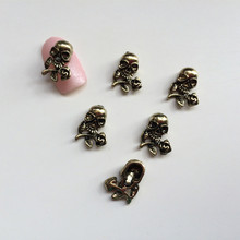 50Pcs/Lot 3D Alloy Skull 3D Nail Art Decorations Halloween Stickers for Nail Accessories Wholesale Supplier