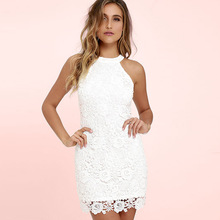Buy DeRuiLaDy Women Mini Bodycon Dress Elegant Wedding Party Sexy Night Club Casual Dresses Halter Neck Sleeveless Lace Summer Dress