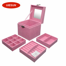 Three Layers Women Gift Jewelry Box Travel Makeup Organizer Suede Fabric Case with Mirror and Lock Jewelry Organizer UIE389