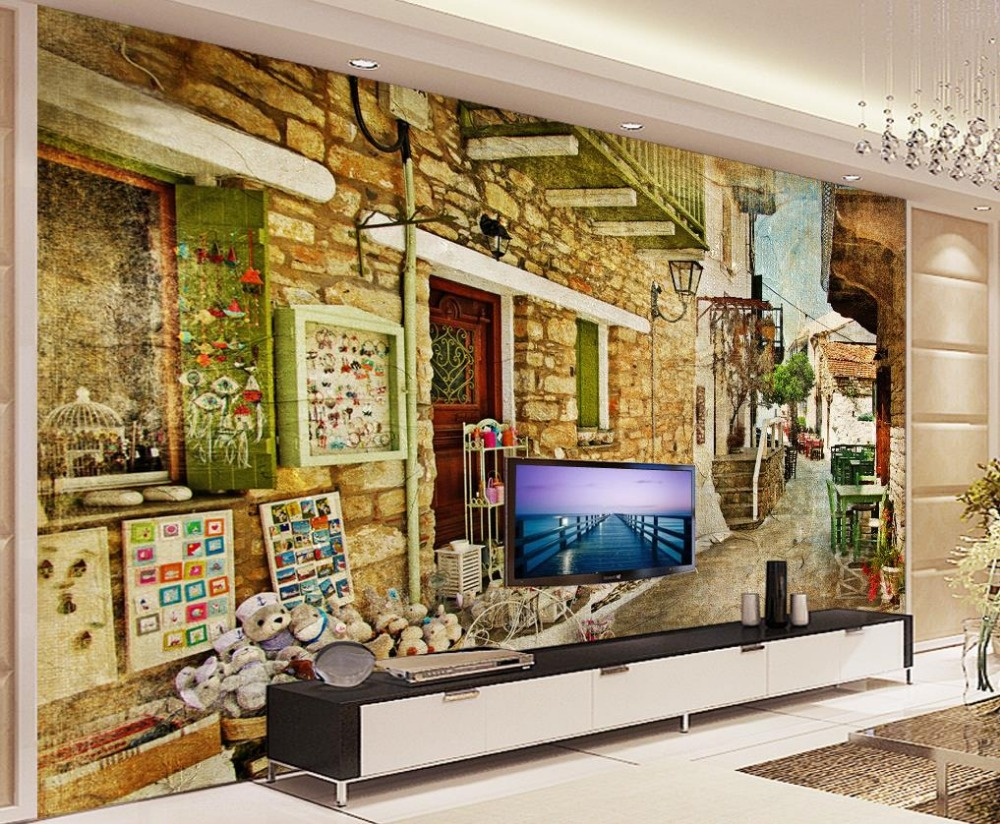 Custom 3d mural wallpaper European style Retro alley street painting Home Decoration Non woven wallpaper<br><br>Aliexpress