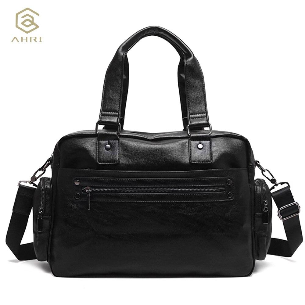 AHRI NEW Handbag For Men Solid PU Leather Shoulder Mens Casual Tote Bags Black Vintage Business Bag Fashion Top handle Men Bag<br>