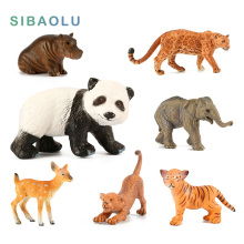 Zoo Plastic Animal Figurine Panda Deer Tiger Leopard Hippo Lion Elephant Cow Simulation Forest animals models figures set toys(China)