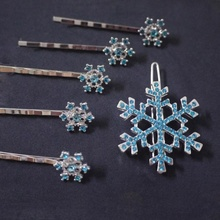 6 pcs/set Girls Bridal Hair Clips Princess Crystal Snowflake Hairpin Jewelry Birthday Gift Headwear Barrette Ornamen Accessories