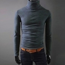 Autumn Winter Men Turtleneck Sweater Slim Pullover Long Sleeve Knitted Sweater Multi Color Option Solid Design Soft And Warm