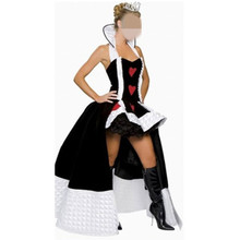 Free Sexy Poker Queen Nobility Long Dress Princess Vicious Witch Costume Masquerade Vampire Cosplay Halloween Red Heart Costume