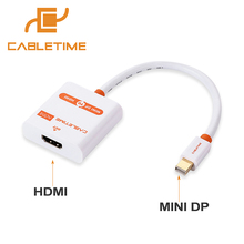 Cabletime Thunderbolt Mini DP to HDMI Active Cable M/F Mini DisplayPort To HDMI Adapter for MacBook Pro Air iMac projector N020(China)