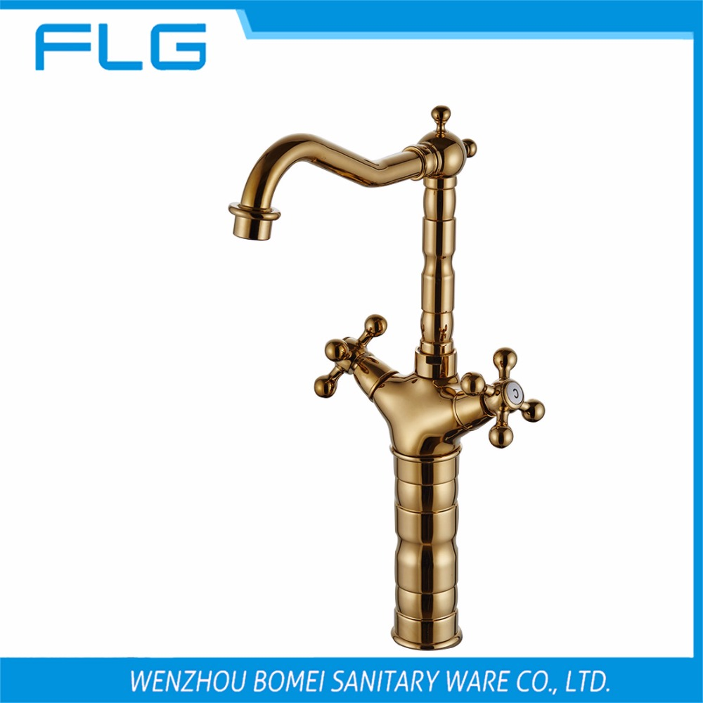 Free Shipping Dual Handle Deck Mounted Tall Bathroom Sink Faucet FLG100070,High Arc Long Spout Gold Basin Faucet<br><br>Aliexpress