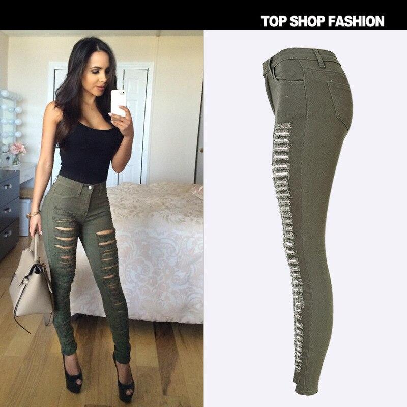 Fashion Women Plus Size Vintage Holes Ripped Jeans Denim Dark green Trousers Female Retro Denim Women Europe Pencil Pants 34-44Одежда и ак�е��уары<br><br><br>Aliexpress