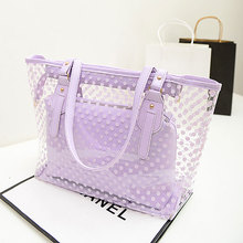 Candy Colors Dot Transparent Women Handbags Purse Casual Tote Shoulder Bag Jelly Composite Bags Teenager Girls Beach Bags Bolsa