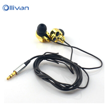 Skull Earphone Stereo Bass earphone 3.5mm Metal Earphones for iphone 6s for Samsung huawei for Xiaomi earphone all Mobile Phones(China)