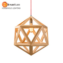 Diamond Shaped LED Indoor Dropping Lamps Pure Natural Modern Wood Pendant Lamps Red Wire Wooden Diamond Dining Room Pendant Lamp(China)
