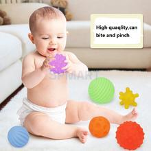 Pack of 6pcs 6-8cm Baby Kids Toddler Soft Massage Ball Sensory Development with Sound Fun Play Bath Educational Toy(China)