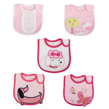 5PCS New Kids Cartoon Cotton Baby Bids for Girl Boy Towel Saliva Waterproof Lunch Bibs Burp Cloths Towel Waterproof Fully Lined