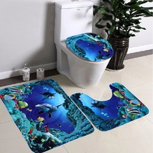 3Pcs New Sea World Design Bathroom Carpet Shark Cartoon Blue Ocean Pedestal Lid Toilet Cover Mat Cute Toilet Rug Floor Mat