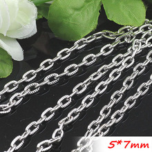 Metal Jewelry Curved Cable Necklace Links Free Nickel 5*7mm Rhodium Color Chains Findings 100 Meters/Troll Packing Bulk Supply